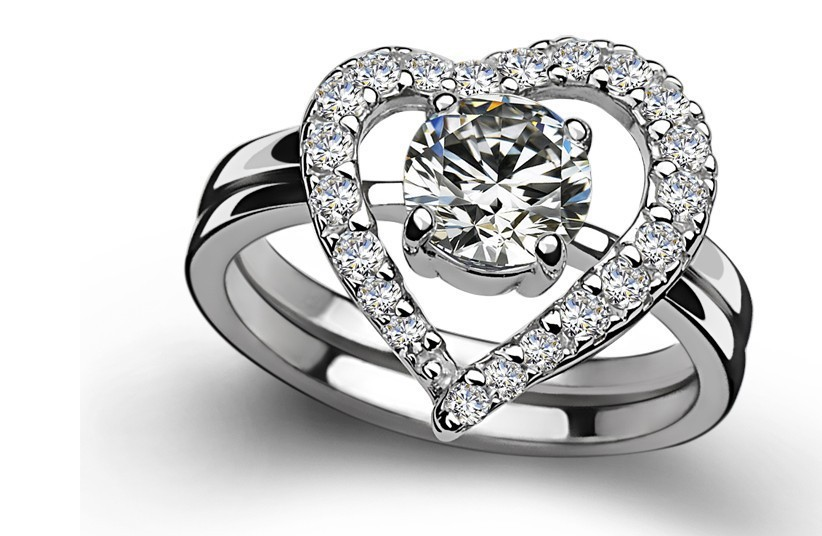 0.5CT Heart Wedding Set SONA Synthetic Diamond Ring for Anniversary 925 Silver 18k White Gold Plated Drop Shipping DY-JZ0083(China (Mainland))