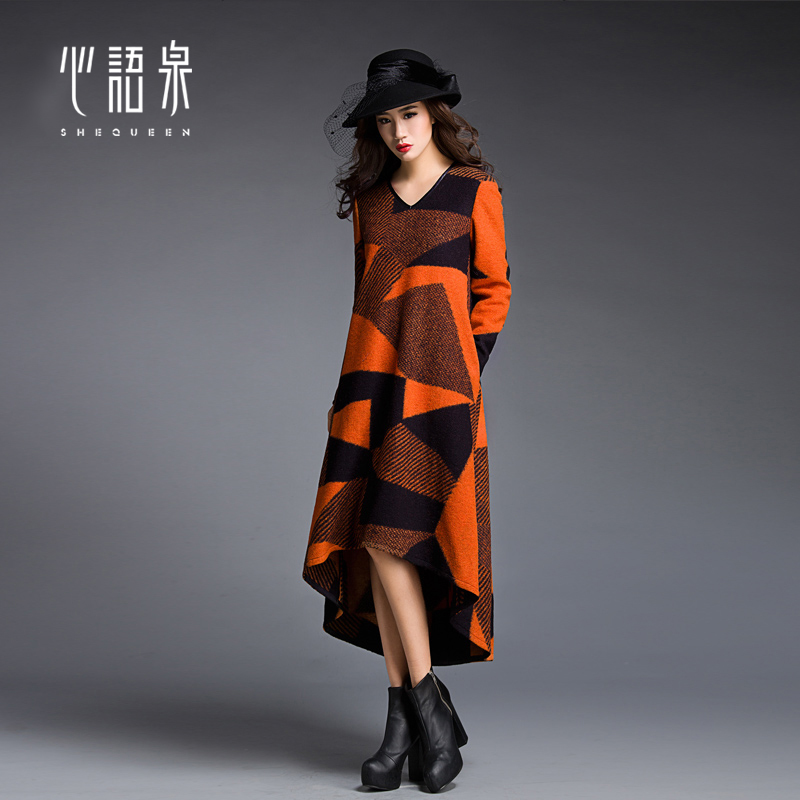 2015 autumn Winter full dress female long-sleeve slim elegant wool thickening bottom expansion one-piece dress women's clothing