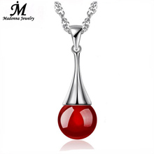 2016 Fashion Red And Black Natural Agate Drop Design Silver Plated Pendant Women Jewelry Wholesale(China (Mainland))