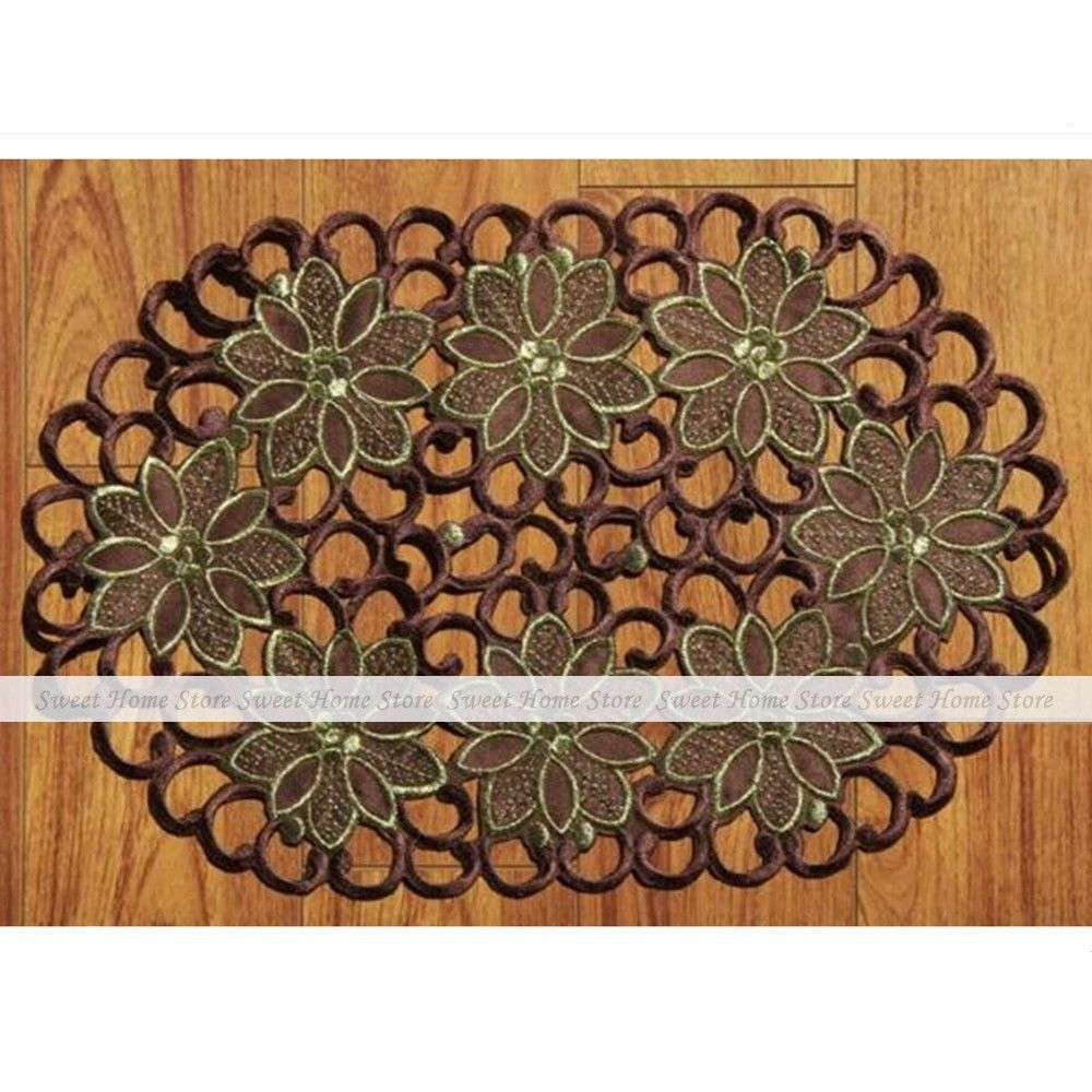 yazi 4pcs Retro Brown Embroidered Flower Cutwork Table Placemats Oval Lace Doily Mat Wedding Party Decor(China (Mainland))