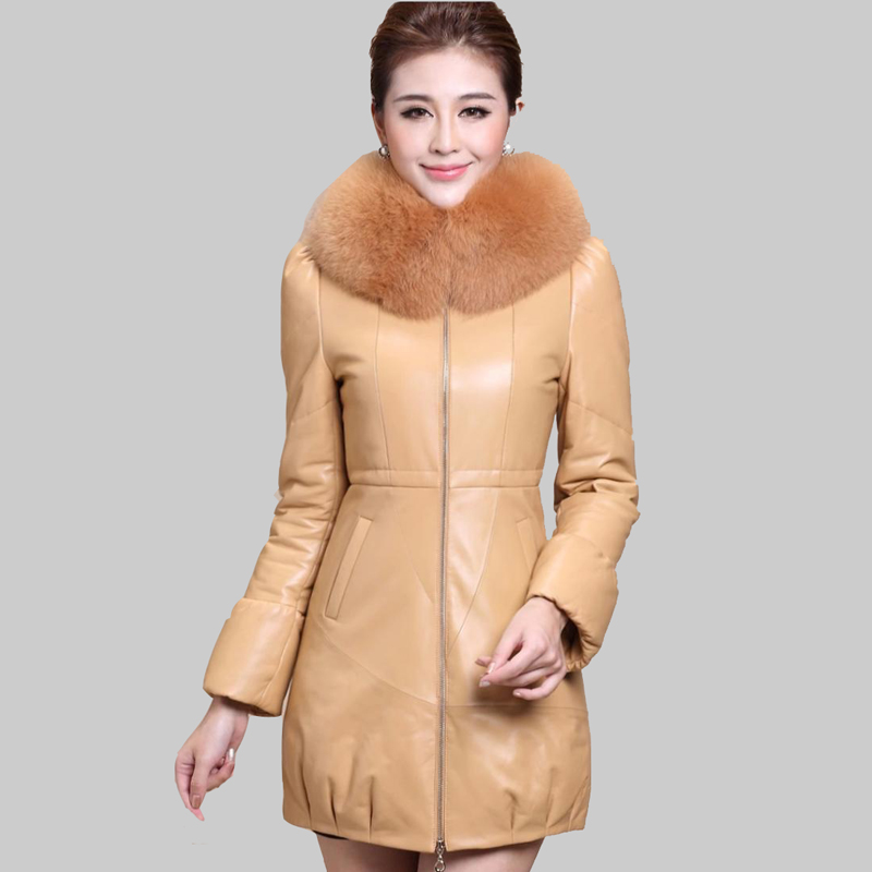 2016 Fashion Fur Collar Winter Leather Jacket Women Long Section ParkasThicken Slim Plus Size M-3XL Winter Duck Down Coat DQ615Одежда и ак�е��уары<br><br><br>Aliexpress