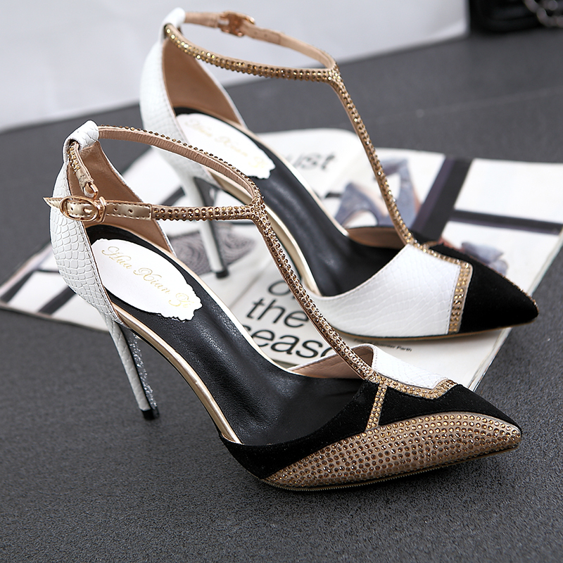 2015 Summer Style Diamond Pointed Toe Stiletto Sexy High Heel Shoes Women Sandals Hot Online From China(China (Mainland))