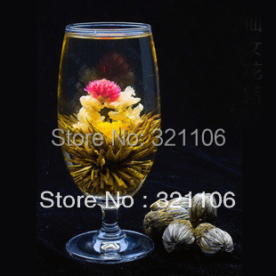 4 Balls Different Handmade Blooming Flower Green Tea Free Shipping