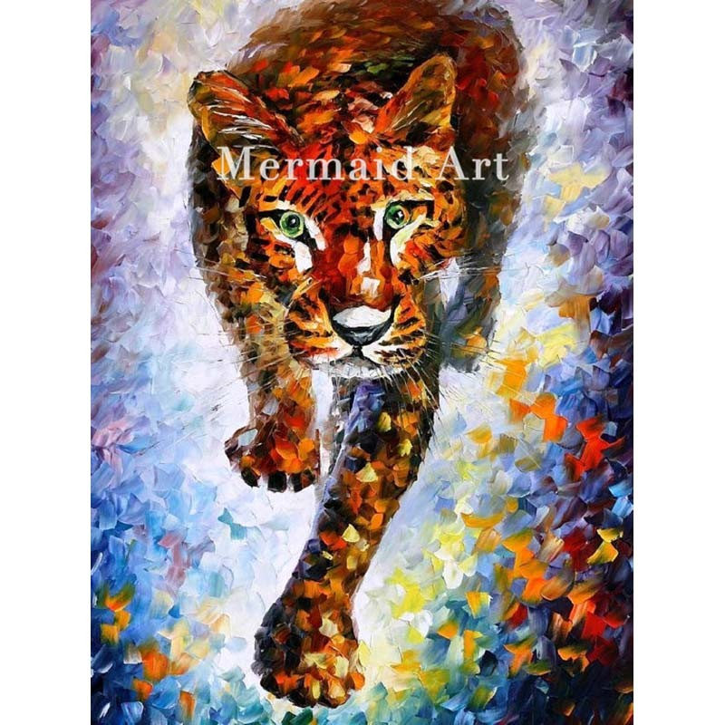 Buy Hand Painted Landscape High Quality Abstract Palette Knife Snow Leopard Oil Painting Canvas Wall Decoration Living Room cheap