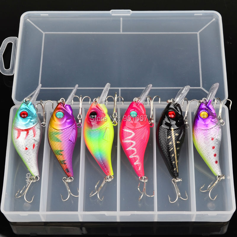 2015 Top Quality Fishing Lures set with box 7.5cm/10.2g fishing tackle 6 color fishing bait 6pcs/lot DW-ST39(Hong Kong)