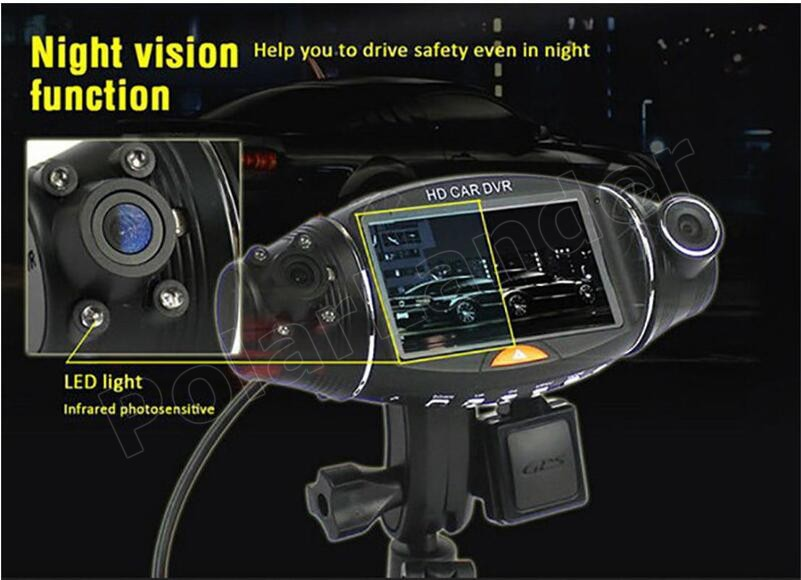 "free shipping 2.7"" inch night vision Video Dashboard Vehicle Dual Lens Camera Recorder GPS module HD Car DVR R310 camcorder"