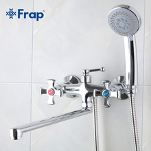 Frap Double handle Bathroom Mixer 30cm stainless steel long nose outlet brass shower faucet F2293(China (Mainland))