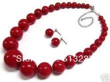 Free shipping hot sale beautiful 6-14mm red artificial coral round beads necklace earrings party gifts jewelry set 18inch MY4277(China (Mainland))