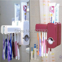 Free Shipping Fashion Automatic Toothpaste Dispenser +Toothbrush Holder Set Family Set Wall Mount Rack Bath Oral Wholesale(China (Mainland))