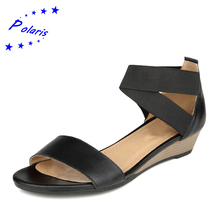 2016 Plus Size 34-42 Women Sandals Genuine Leather Fashion Solid Summer Sweet Flats Sandals Casual Woman Shoes Black Beige SS036(China (Mainland))