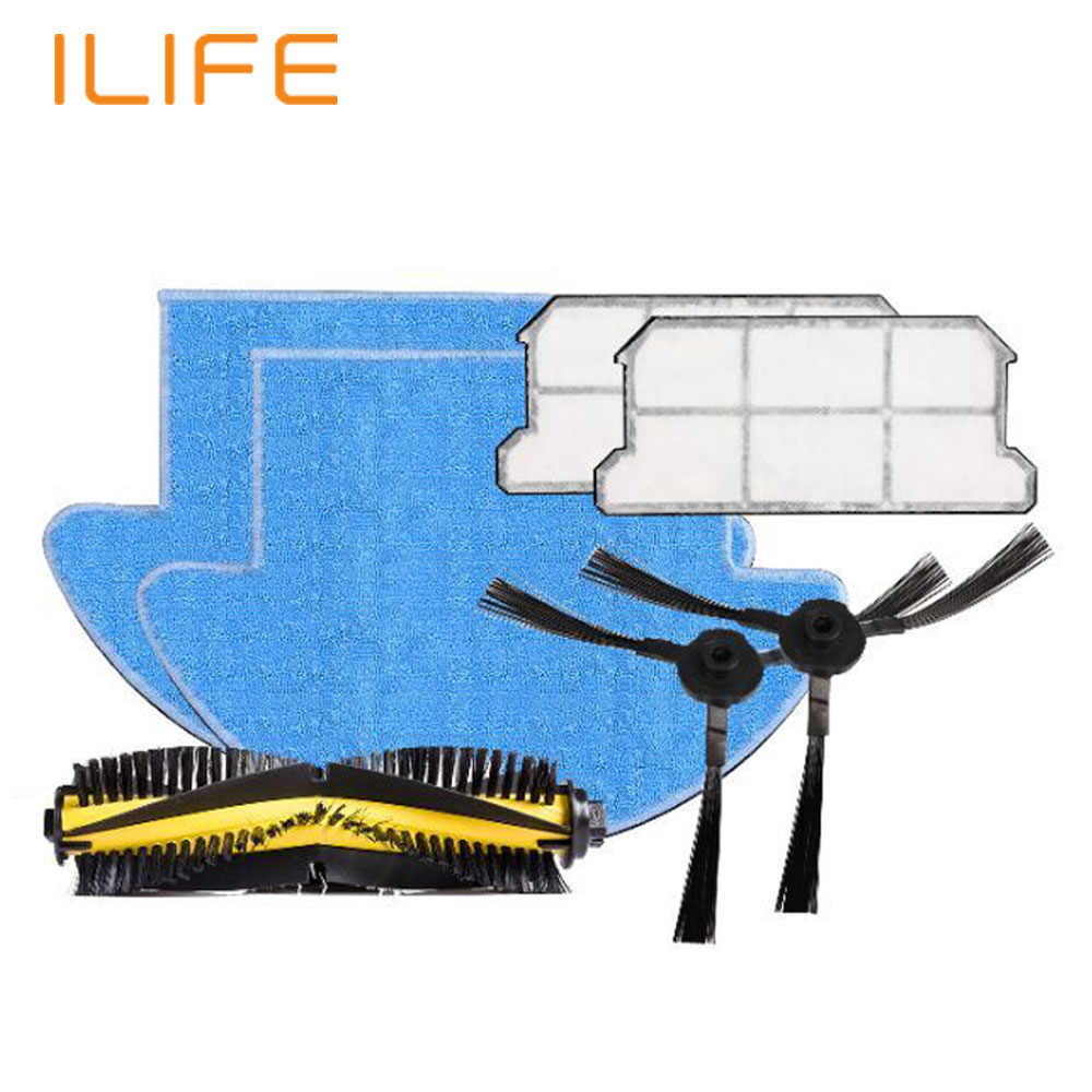 ILIFE V7S Robot Vacuum Cleaner Parts Spare Replacement Kits Cleaning Robot Vacuum HEPA Filter Side Brushes Main Bristle Brush(China (Mainland))