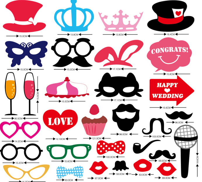 2015 Style 31PCS DIY Party Masks Photo Booth Props Mustache On A Stick Wedding Party(China (Mainland))
