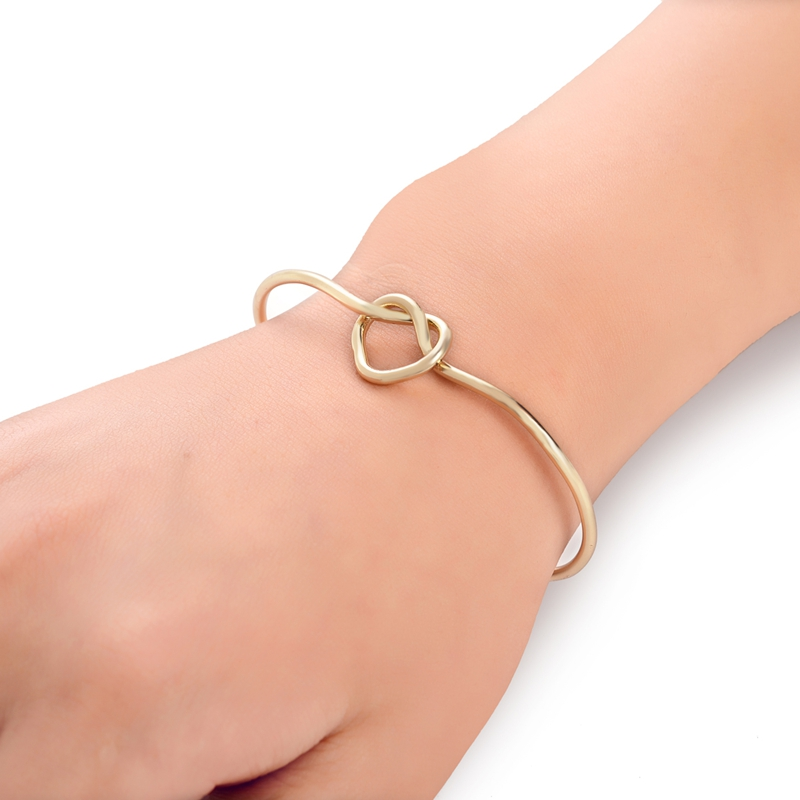 10PCS-G045 2015 New Gold and Silver Handmade Heart Knot Cuff Bracelet Bangles for Women<br><br>Aliexpress