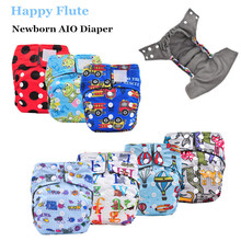 Happy Flute Newborn AIO Diaper Cloth Diaper Pocket Diaper, Breathable Bamboo Charcoal Double Gussets Inner  Waterproof PUL Outer(China (Mainland))
