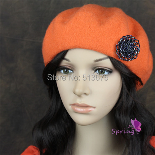 Free Shipping 2015 new winter red black pink orange yellow wool BERET HAT Women Beret hollow flower lady painter hat(China (Mainland))