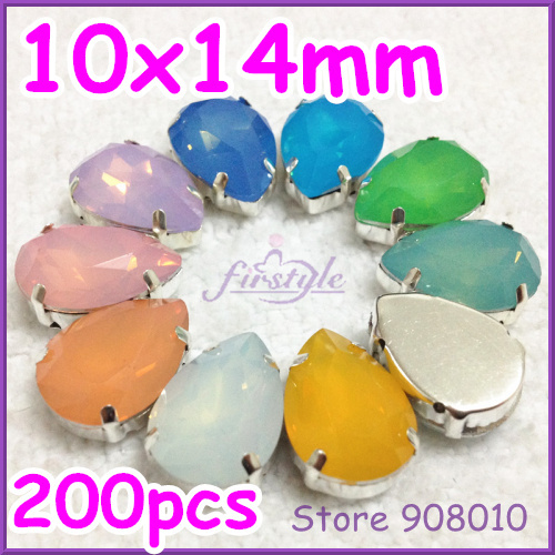 200pcs/lot, 10x14mm Sew On Resin Teardrop Fancy Stone In Droplet Silver Claw Setting 9 OPAL Colors For Jewelry Making,Necklace<br><br>Aliexpress
