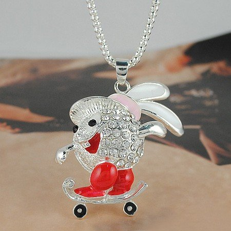 N1255 Cartoon adorn article long necklace Drops of oil set auger skateboarding rabbit pendant sweater chain Free shipping