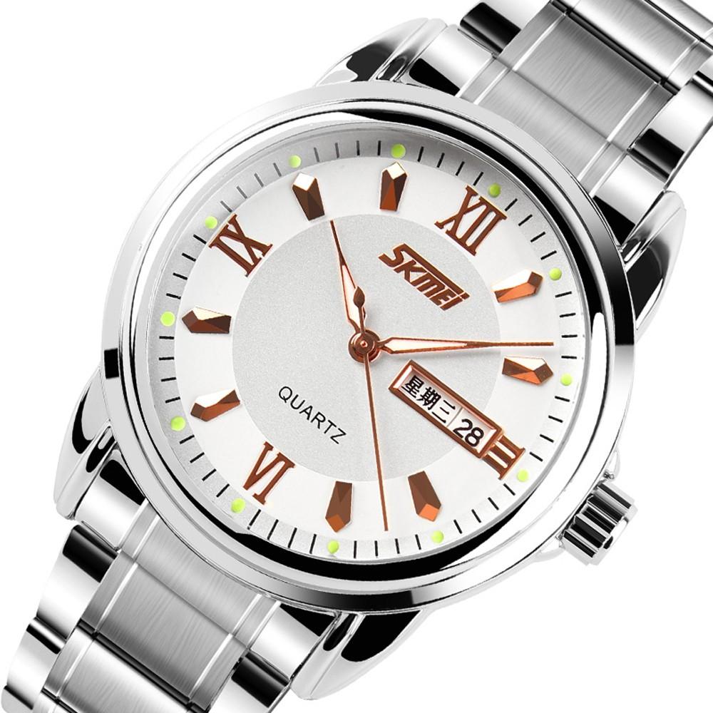 Skmei Нержавеющей Дата Роскошные Часы Мода мужская Календарь