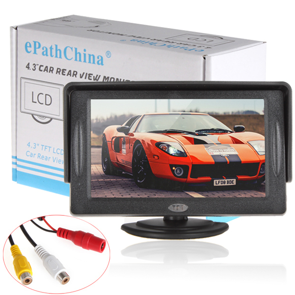 Mini 4.3'' Car Parking Rear View Rearview Video Monitor For DVD VCD Reverse Camera, Color TFT LCD Display Screen, Free Shipping(China (Mainland))