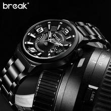 Break Creative Unique Design Luminous Stainless Steel Mens Watches Top Brand Luxury Military Sports Quartz Casual Watch Man Gift(China (Mainland))