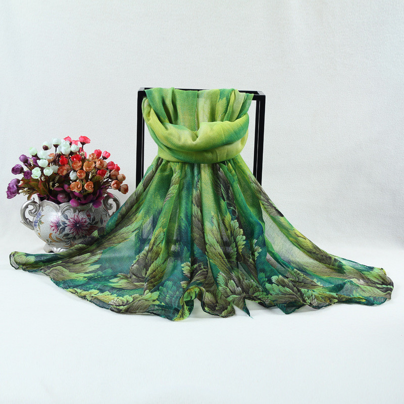 2015 Autumn New Style Voile Scarf Leaves Silk Shawl Long Ladies Floral Print Foulard Retro Suncreen Beach Scarves Canada WJ032(China (Mainland))