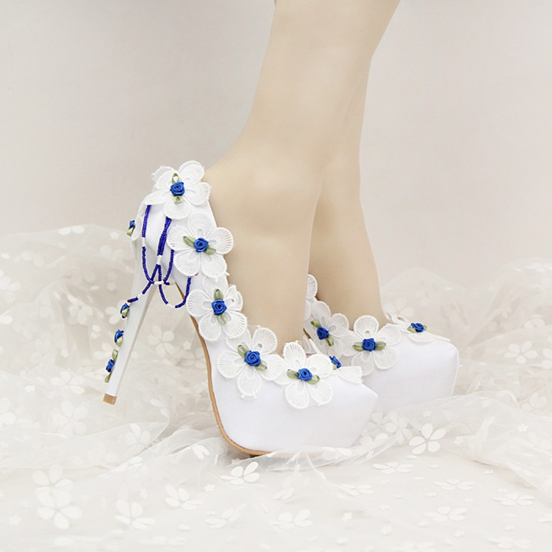 Beautiful White Satin Wedding Shoes with Blue Lace FLower Bridal Shoes Birthday Party Pumps Formal Dress Shoes with Platforms