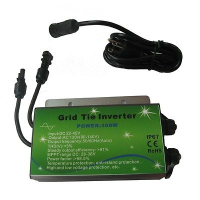 2015 USA Stock Waterproof IP67 Grid Tie inverter 300W 110V W/ MPPT function for 36V solar panel(China (Mainland))