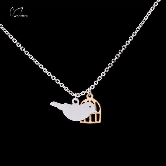 30pcs/lot 2015 Minimalist Jewelry Gold Silver Dainty Cute Bird Cage Charm Stainless Steel Chain Necklace<br><br>Aliexpress