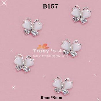 100pcs White Heartshaped Nail Art Ribbon Bow 3D Butterfly Nail Decorations dot resin Flat Back Rhinestone Sticker Wholesale B157