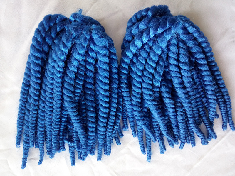 Bright Blue 2X Havana Mambo Crochet Twist Braiding Hair Extensions 12strands/pack Synthetic Bouncy Jumbo Crochet Marley Twist(China (Mainland))