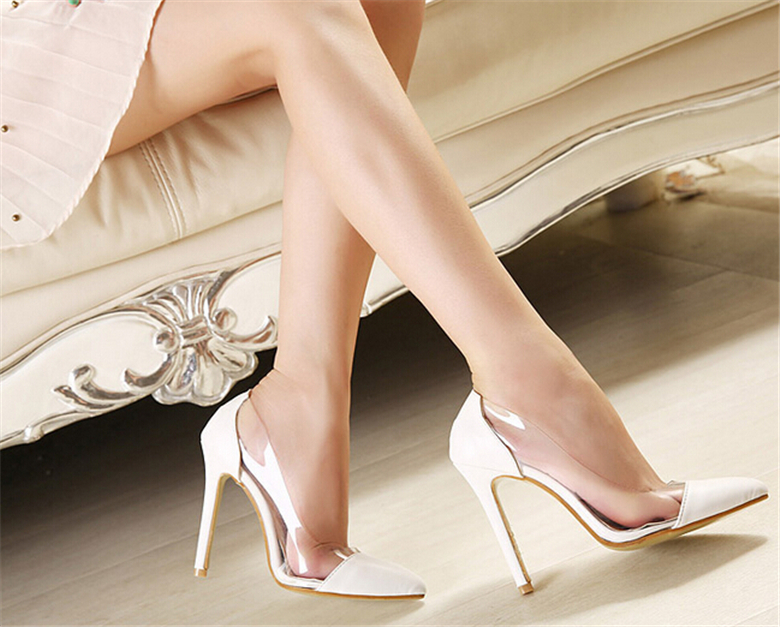 White Pumps Extreme High Heels Women Sandals 2015 Gladiator Shoes Pointy Toe High Heels Nude Heels Transparent Shoes Party Shoes<br><br>Aliexpress