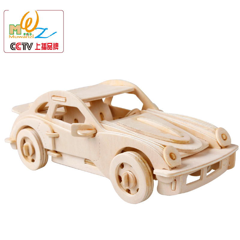 3 d puzzle 046 their green car no paint Giving gift a undertakes to holiday gift simulation toys Brazil(China (Mainland))