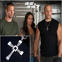 New Movie jewelry The Fast and The Furious Dominic Toretto Vin Classic Male Rhinestone sliver cross necklace men 2015