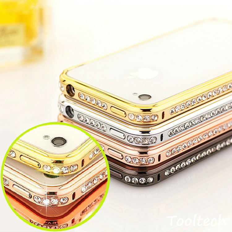 New 2014 Luxury Crystal Rhinestone Bumper Frame For Apple iPhone5 5s Diamond Gold Slim Shining Bling Case For iPhone 5(China (Mainland))