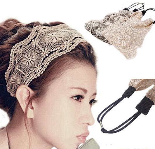 Fashion Women Girls Hollow Lace Flower Headband Retro Hair Band Wide Head Wrap Accessories xth129,1(China (Mainland))