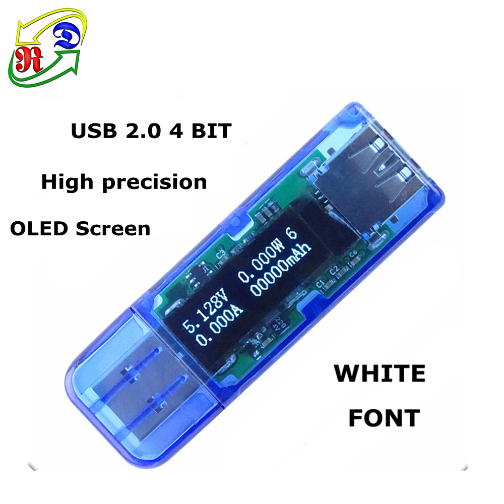 RD 10pcs White 4 bit OLED USB detector voltmeter ammeter power capacity tester voltage current meter usb power bank charger(China (Mainland))