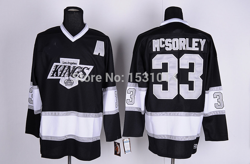 Best quality Throwback Los Angeles Kings jersey Hockey Jersey LA #33 Marty McSorley Jersey Black Vintage Authentic Stitched Jer(China (Mainland))