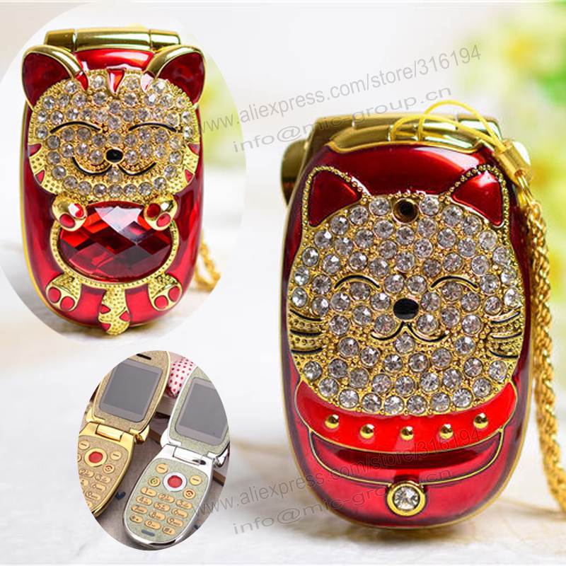 Greek,Hebrew unlocked cartoon cat small women kids girls diamond Bluetooth dialer cute mini cell mobile phone cellphone P156(China (Mainland))