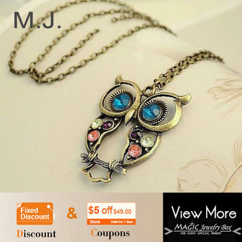 2015 Hot Sale Crystal Owl Pendant Necklace Vintage Gold Long Chain Rhinestone Animal Necklace Women Costume Jewelry gift Collier(China (Mainland))