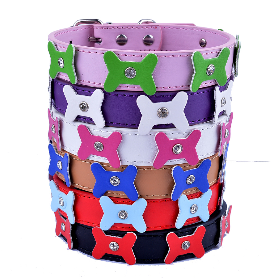 Leather Studded Dog Collar Flowers Collar Charm Dog Accessories Pet Products For Dogs Red Pink Black White Purple(China (Mainland))