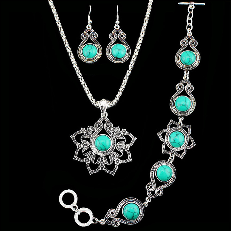 Fashion jewelry antique silver plated beatiful flower for Turquoise colored fashion jewelry