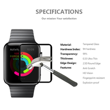 Full Cover Tempered Glass for Apple Watch 38 42mm Screen Protector 9H 2.5D Silk Print with Black Circle Smart Watch Glass Film