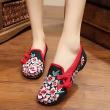 2016 New Arrival Old Peking Women's Shoes Chinese Flat Heel With Flower Embroidery Comfortable Soft Canvas Shoes Plus Size 41(China (Mainland))