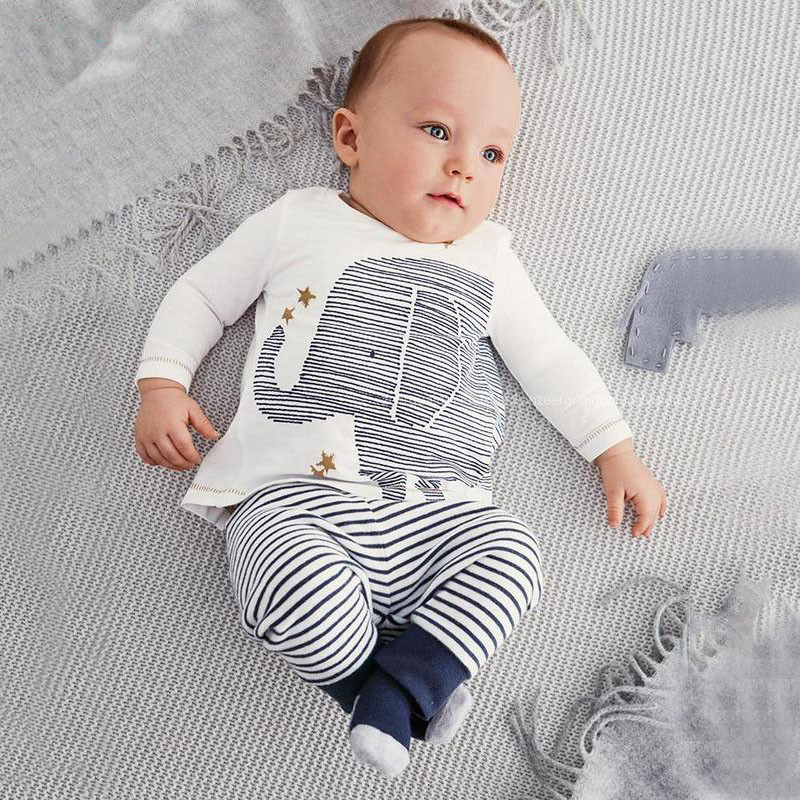 clothing set autumn baby boy clothes carters baby clothing baby elephant Long sleeve Tops + Stripe Pants clothes set<br><br>Aliexpress