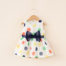2016 Baby Girl Dress Summer Baby Bow Chiffon Dress Infant Girl Sleeveless Dot Dress 1 Year  Baby Birthday Dress Baby Clothes(China (Mainland))
