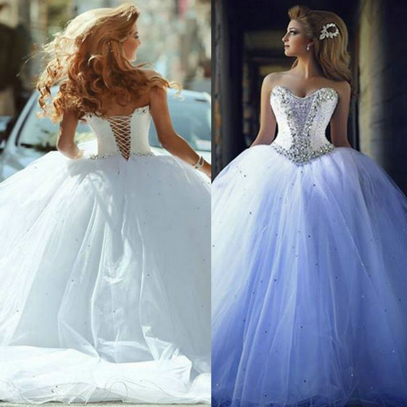Ball Gown Wedding Dresses With Color : Vintage ball gown rhinestones wedding dresses beaded lace