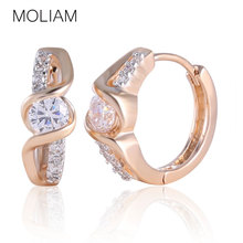 MOLIAM 2016 New Design Hoop Earrings for Women 18K Multi-tone Gold Plated Luxury Crystal Anniversary Jewelry E170(China (Mainland))