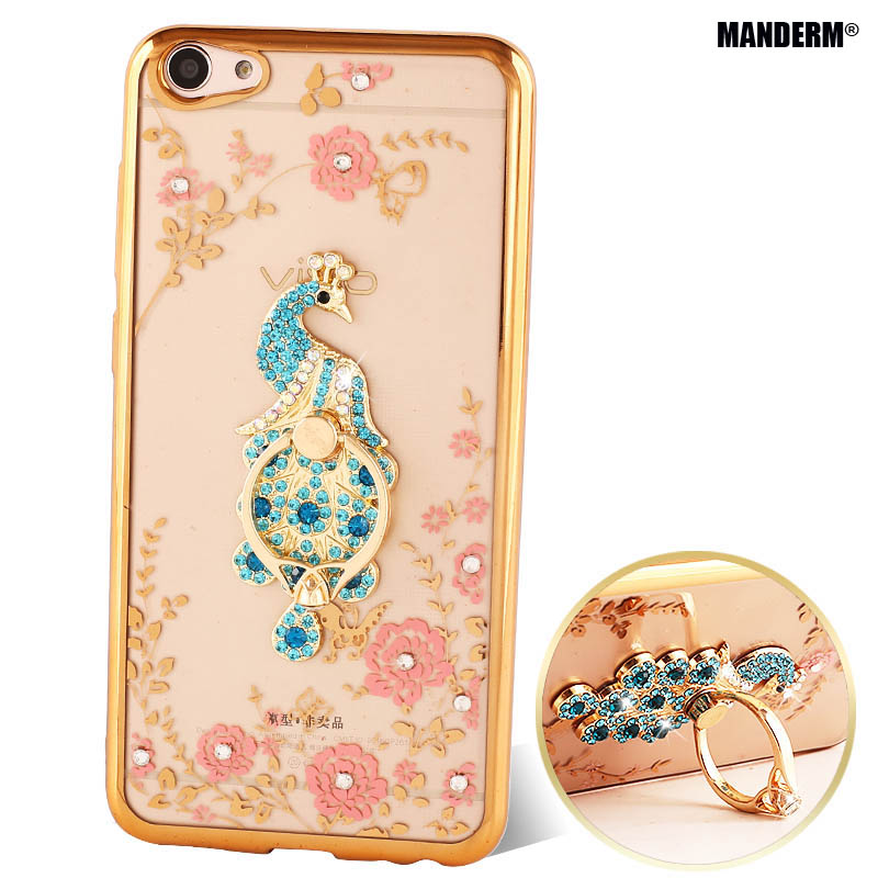 x7 Luxury Rhinestone Phone Case Cover Finger Rotated Ring Holder Stand BBK Vivo X7 Ultra-thin Silicone Case Soft Shell
