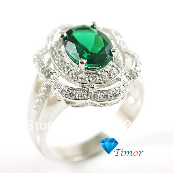 3ct Wholesale Promotion Flower Shiny Style Retro Vintage Women Emerald Ring 925 Sterling Silver Size 6 7 8 Free Shipping<br><br>Aliexpress