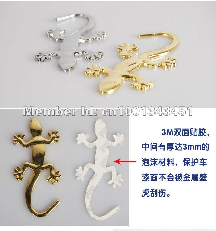 5 pcs/lots 3D Gecko Car Stickers Small Automobile Label Chrome Badge Emblem Decal Made Of PVC / METAL New Arrival N054(China (Mainland))